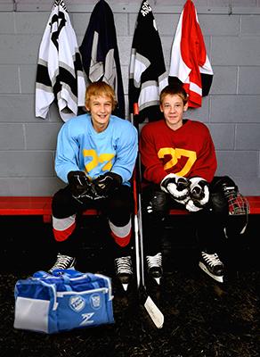 kids and hockey bag
